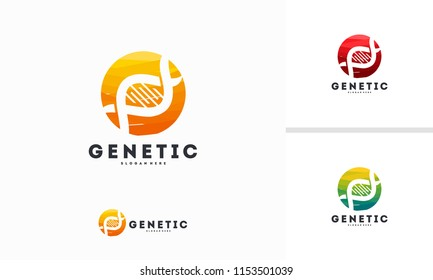 Abstract Circle Genetic logo designs concept vector, DNA logo symbol