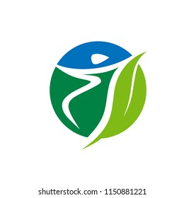 abstract circle human fit with green leaf for health care center logo design concept.
