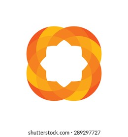 Abstract Circle icon sign logo symbol vector design template / star, flower, orange.
