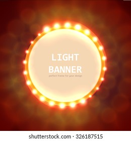 Abstract circle light banner with text. Vector illustration
