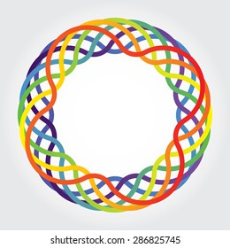 Abstract circle logo, flower, lines. rainbow color.