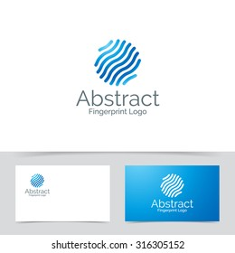 Abstract circle logo made of lines fingerprint template. Corporate branding identity