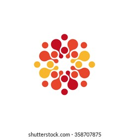 Abstract circle logo. Red, orange, yellow color logotype template. Chemistry and medical business picture. Round Bubbles shape. Unusual liqiuid drop.
