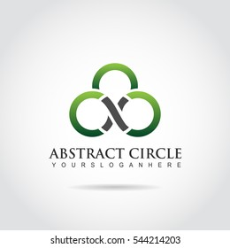 Abstract Circle logo template. green and black color. Vector illustration eps.10