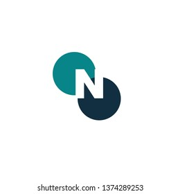 Abstract Circle N Creative Design Logo