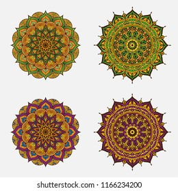 abstract circle ornament with colorful flower concept use for decor element or futuristic wallapaper, islamic, arabic, ramadan, ied,  deepavali