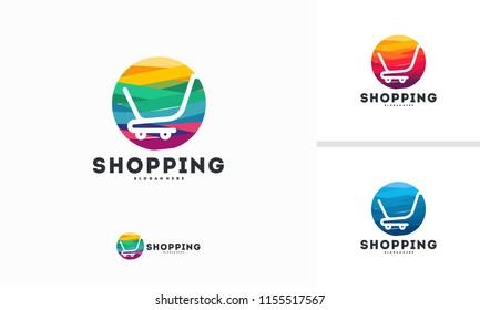 Abstract Circle Shopping logo designs concept vector, Cart logo symbol