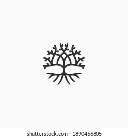 abstract circle symmetrical tree vector