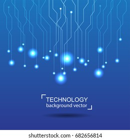 Abstract circle technology blue Background. Digital network and hightech concept. On White Background With Sample Text Area.