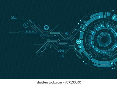 Abstract circle technology concept. Circuit board, high computer color background. Vector illustration