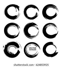 Abstract circle textured ink strokes set isolated on a white background