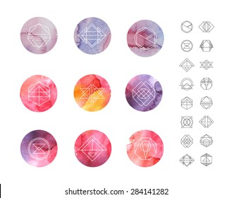 Abstract circle watercolor Patterns Set with Hipster Style Icons for Logo Design. Line Retro Signs for Logotypes and Business Cards.