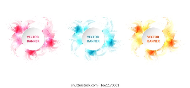 Abstract circle watercolor splash, graphic design frame with text for banner, flyer, poster, advertisement