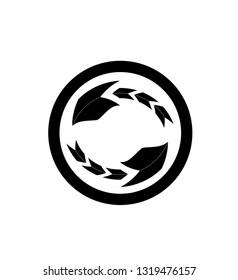 Abstract circled scorpion sting arows symbol logo