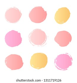 Abstract circles background pastel pink and gold colors