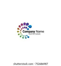 abstract circles colourfull logo  vector