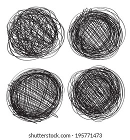 Abstract circles drawn in pencil isolated on white background 1. Line drawing. Graphics