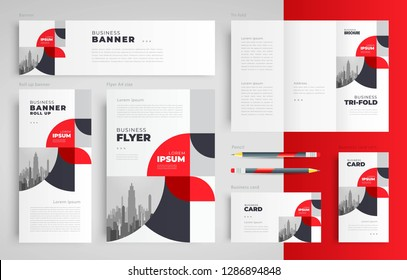 Abstract circles geometric theme Set flyer cover, tri-fold, banner, roll up banner, business card red color