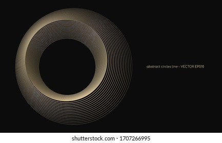 abstract circles lines pattern round frame gold color isolated on black background. Vector illustration in concept luxury, modern,