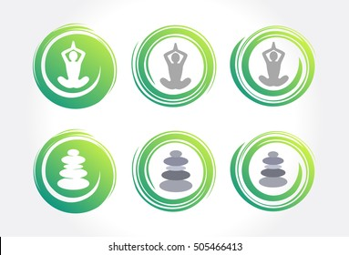 Abstract Circles of Meditation Balance. Collection of yoga, zen, meditation icons, colorful elements and symbol