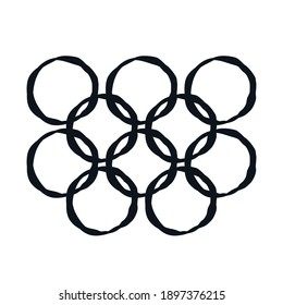 Abstract circles on white background Sport logo icon sign symbol Win emblem template Hand drawn Uncombined element Modern design style Fashion print for clothes apparel invitation card banner poster