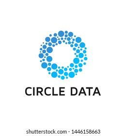 Abstract Circles shape group, blue color stylish vector logotype.