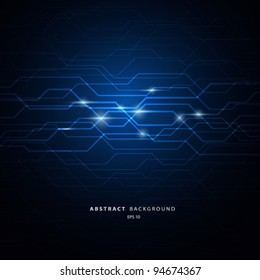 Abstract circuit blue background, vector illustration