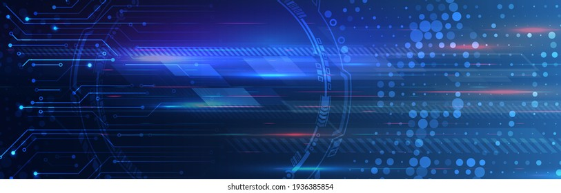 Abstract circuit board vector illustration. Vector electronic communication. Futuristic web banner. Wide High-tech technology background texture.