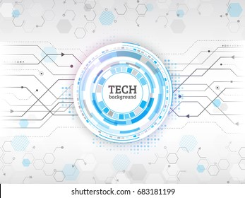 Abstract circuit communication concept. Background with various computer technology and engineering elements. Digital vector illustration eps 10