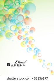 Abstract circular background with bubbles in pastel colours