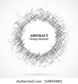 Abstract circular element.Set of circular crisscrosses.Assymetric radial elements.Linear drawing.Vector illustration pattern.Monochrome background. Geometric element.