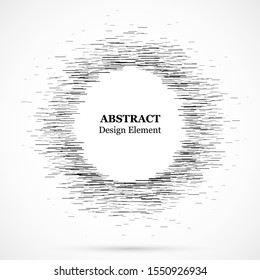 Abstract circular element.Set of lines. Assymetric radial elements.Linear drawing.Vector illustration pattern.Monochrome background. Geometric element.