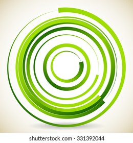 Abstract circular element, made of concentric circles with brushstrokes. Green series.
