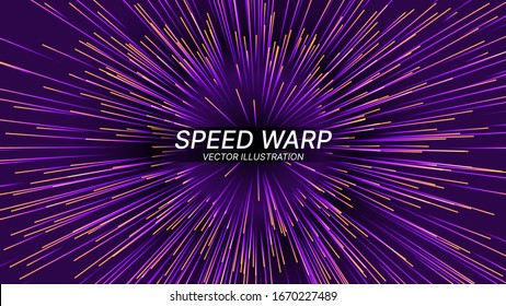 Abstract Circular Geometric Background. Vector Speed of Light Illustration. Space Science Fiction Travel, Warp, Teleport, Hyper Speed Jump Effect Concept.