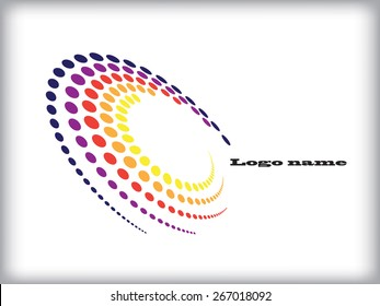 Abstract circular halftone dots form. Logo design. Vector illustration background