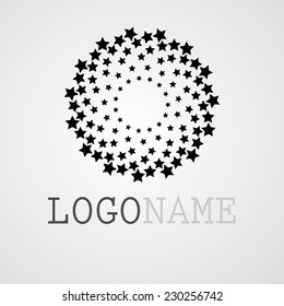 Abstract Circular Halftone Dots in Stars Form. Logo Design. Vector Illustration Background.