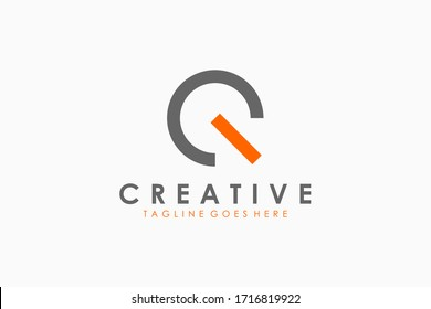 Abstract Circular Initial Letter Q Logo. Grey Orange Linear Style. Usable for Business and Technology Logos. Flat Vector Logo Design Template Element.