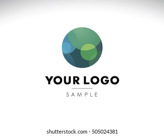 Abstract circular logo with blue green and cyan inside. Logo idea with shaded circles.