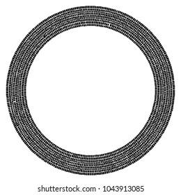 Abstract circular stonework, stonewall element. Circle mosaic.