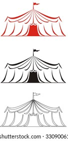 Abstract circus tent vector illustration in red, black and black and white.  Ideal for carnival signs decals, digital stamps and more
