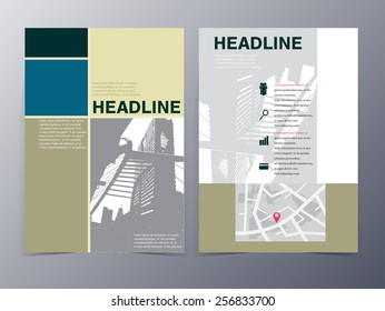 abstract city building geometric pattern brochure design template vector mock up for use as real estate company anual report, poster,flyer