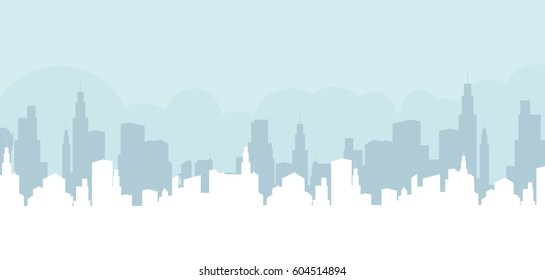 Abstract city building skyline -  horizontal web banner background
