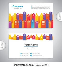 Abstract city buildings - urban development - town houses - real estate agency - universal business card - information label - company presentations - stock vector