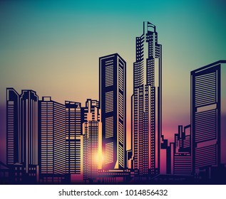 Abstract city landscape sunset sky.