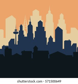 Abstract city landscape. Vector illustration.