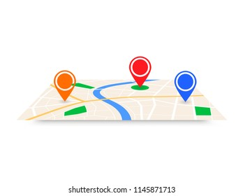 Abstract city map with pointers gps navigation plan vector 3d