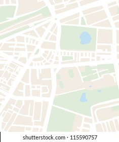 Abstract city map vector illustration with streets, parks and pond