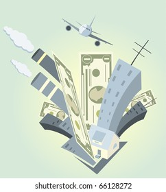 abstract city - money, building and plane