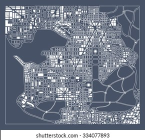 Abstract city plan.  Editable vector street map of a fictional generic town. Retro urban background.