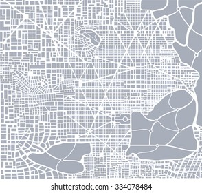 Abstract city plan.  Editable vector street map of a fictional generic town.  urban background. Endless texture can be used for printing onto fabric and paper or scrap booking, surface textile